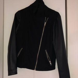 Half leather half soft fabric jacket